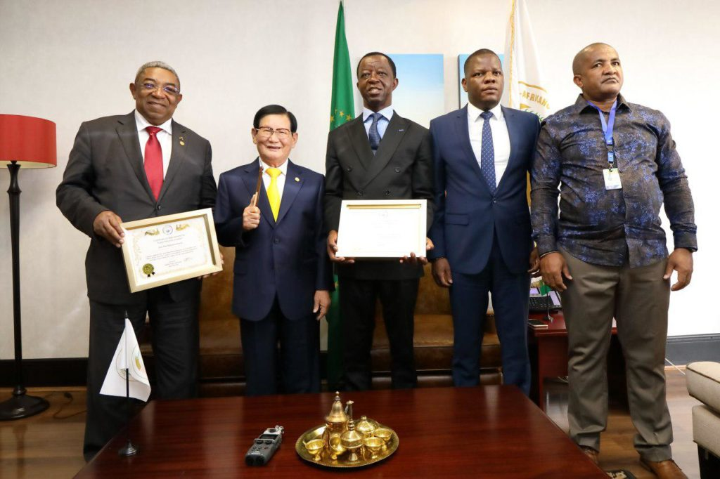 hwpl afrique The president of Pan-African Parliament representing chairpersons of 55 African states signed an MOU with HWPL on support for the DPCW to seek cooperation for peacebuilding